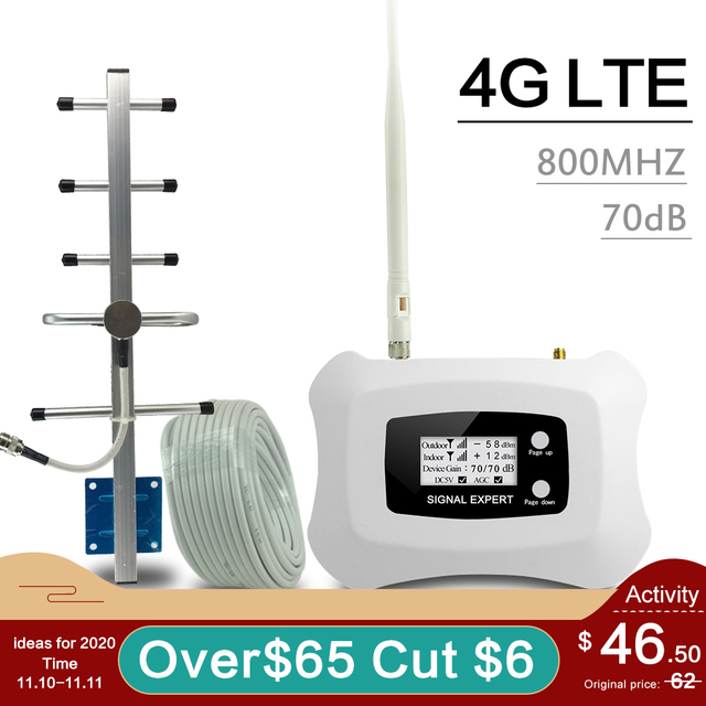70dB 4G LTE 800 band 20 Cellular Signal Booster 4G LTE Mobile Phone Signal Repeater AGC MGC Smart Cellphone Amplifier Antenna 4G