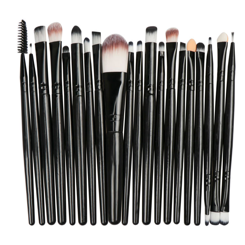 20pcs Eye Makeup Brushes Set Classic Power Brush Make Up Beauty Tools Soft Synthetic Hair Leather Case