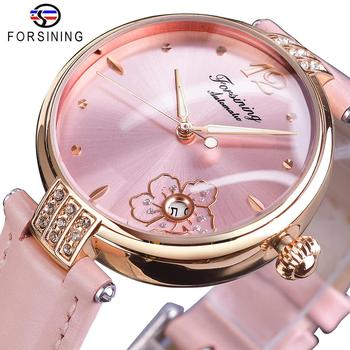 Forsining Diamond Flower Design Automatic Watch Women Romantic Pink Genuine Leather Luminous Waterproof Date Mechanical Watch leisure automatic mechanical genuine leather waterproof watch with rome digital business for various occasions m172s brown