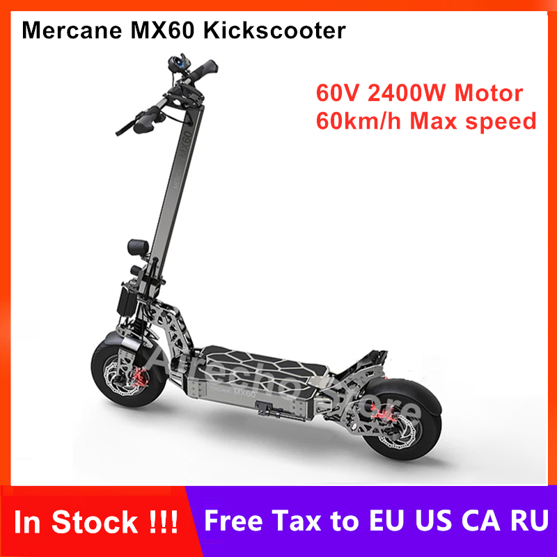 """2019 dernière Mercane MX60 Kickscooter électrique intelligent Scooter 2400W 10/20AH 60 km/h 11 """"pneu double frein pliable Hover Skateboard"""