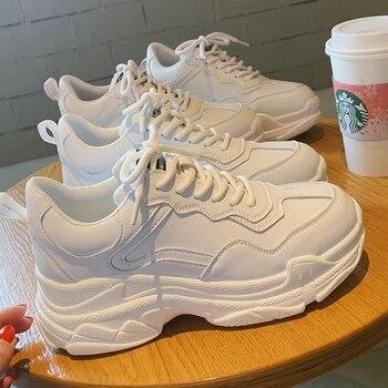 Zapatos blancos de mujer, nuevas zapatillas gruesas con cordones para mujer, zapatos vulcanizados, moda Casual, cálido, zapatillas con plataforma para papá, cesta