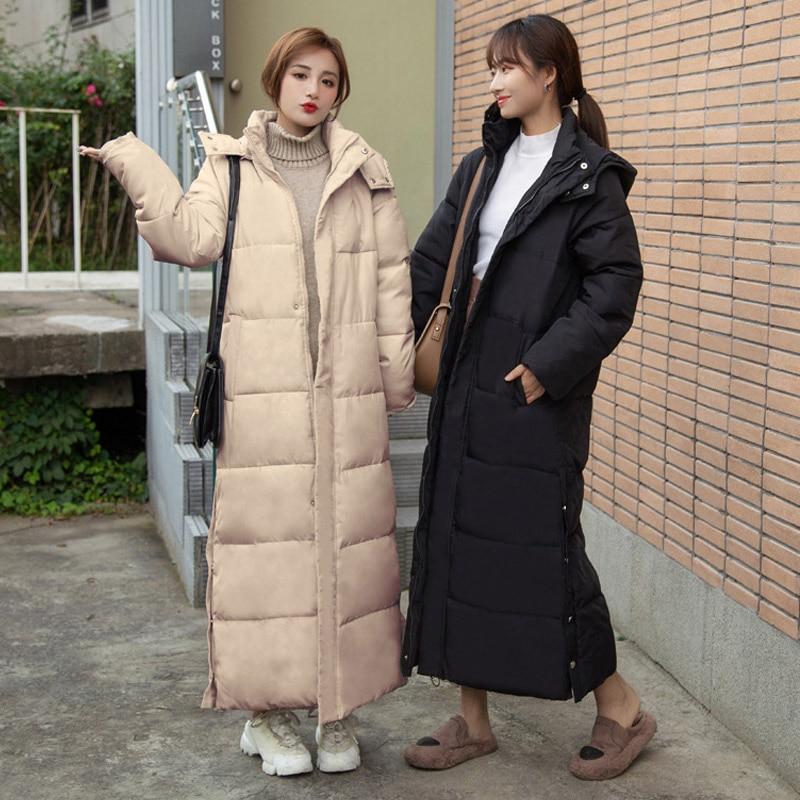 X Long Oversized Thick Cotton Jacket Women's Parkas Streetwear Hooded Warm  Silm Slit Button Puffer Coat For Female Korean Winter Parkas  - AliExpress