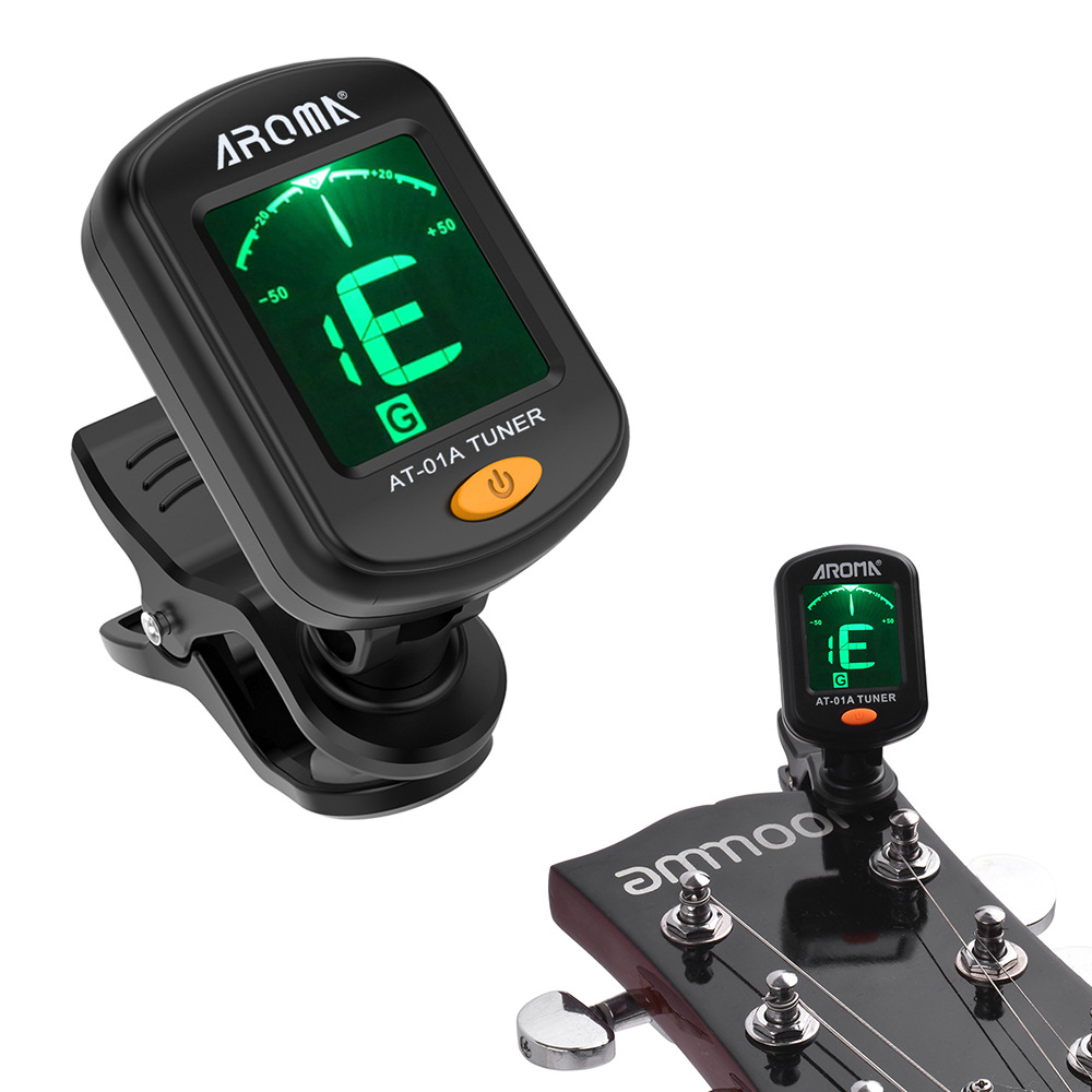 Digital Clip-on Electric Tuner For Guitar Chromatic Bass Violin Ukulele Universal Portable Foldable Tuner Guitar Accessories