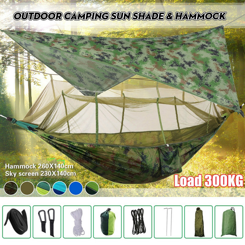 Portable Camping Hammock with Mosquito Net, Rain Fly and Tree Straps for Indoor, Outdoor, Backpacking, Travel, Beach, Hiking(China)