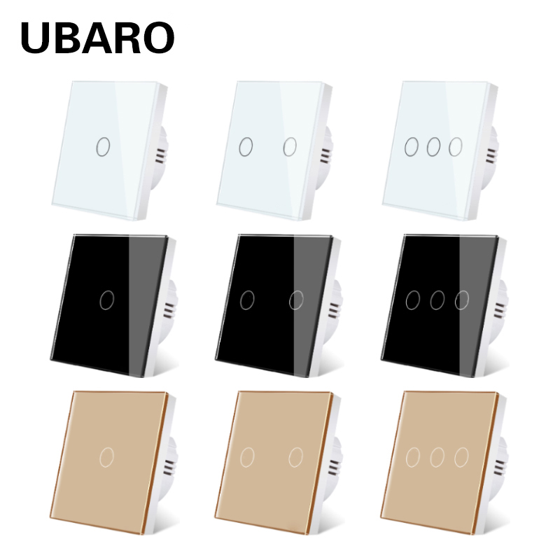 UBARO EU/UK Standard Crystal Tempered Glass Wall Panel Light Touch Switch Led Indicator Sensor Button Switches 1/2/3Gang 220V