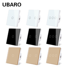 UBARO EU/UK Standard Kristall Gehärtetem Glas Wand Panel Licht Touch Schalter Led Interruptor 2 Gang Schalter Domotica Taste 220V
