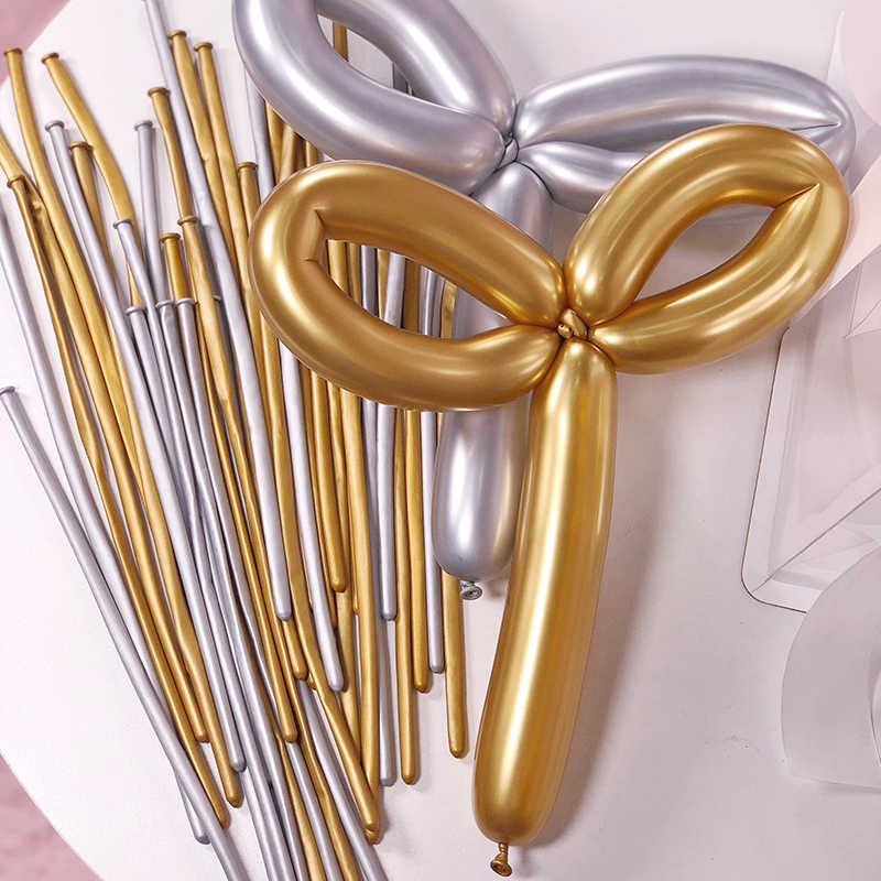 Ballons magiques longs métalliques 10 pièces | Ballon latex torsadé à longue bande, ballon métal chromé pour décoration de fête d'anniversaire, ballons gonflables pour enfants