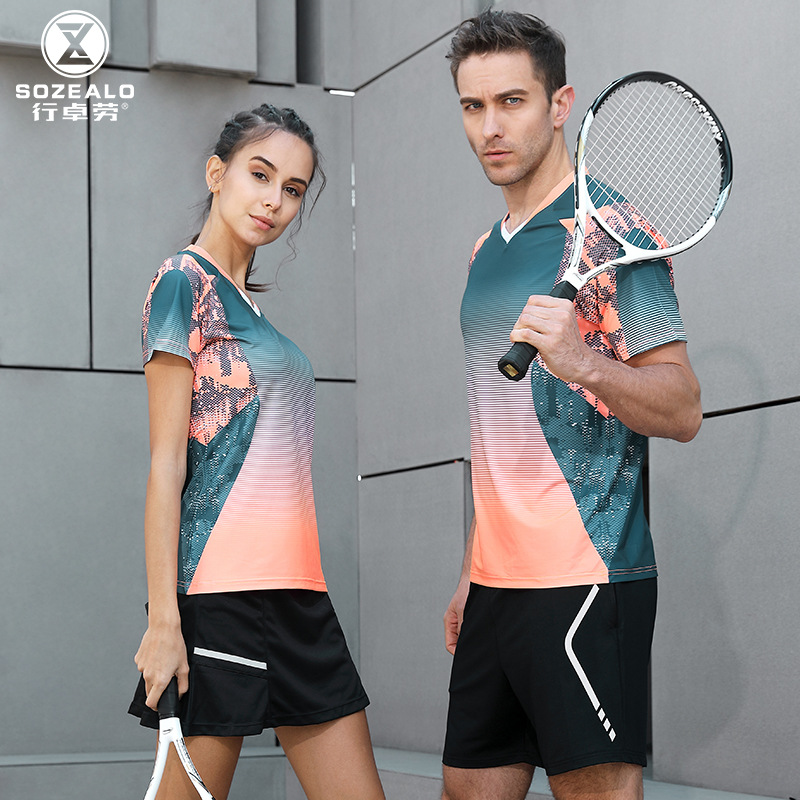 Summer Tennis Set Men's Customizable Short Sleeve Badminton Clothing Sports WOMEN'S Suit Short Skirts Quick-Dry Anti-Exposure Tr