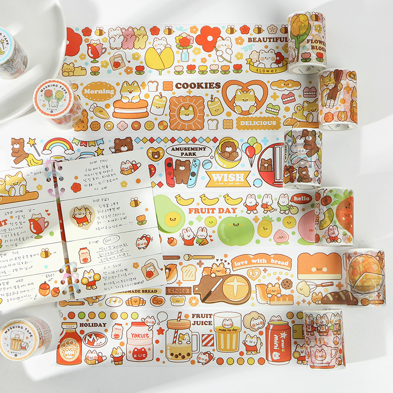 Busy Happy Series Journal Washi Tape DIY Scrapbooking Sticker Label Kawaii Animal Cat Cake Masking Tape School Office Supply