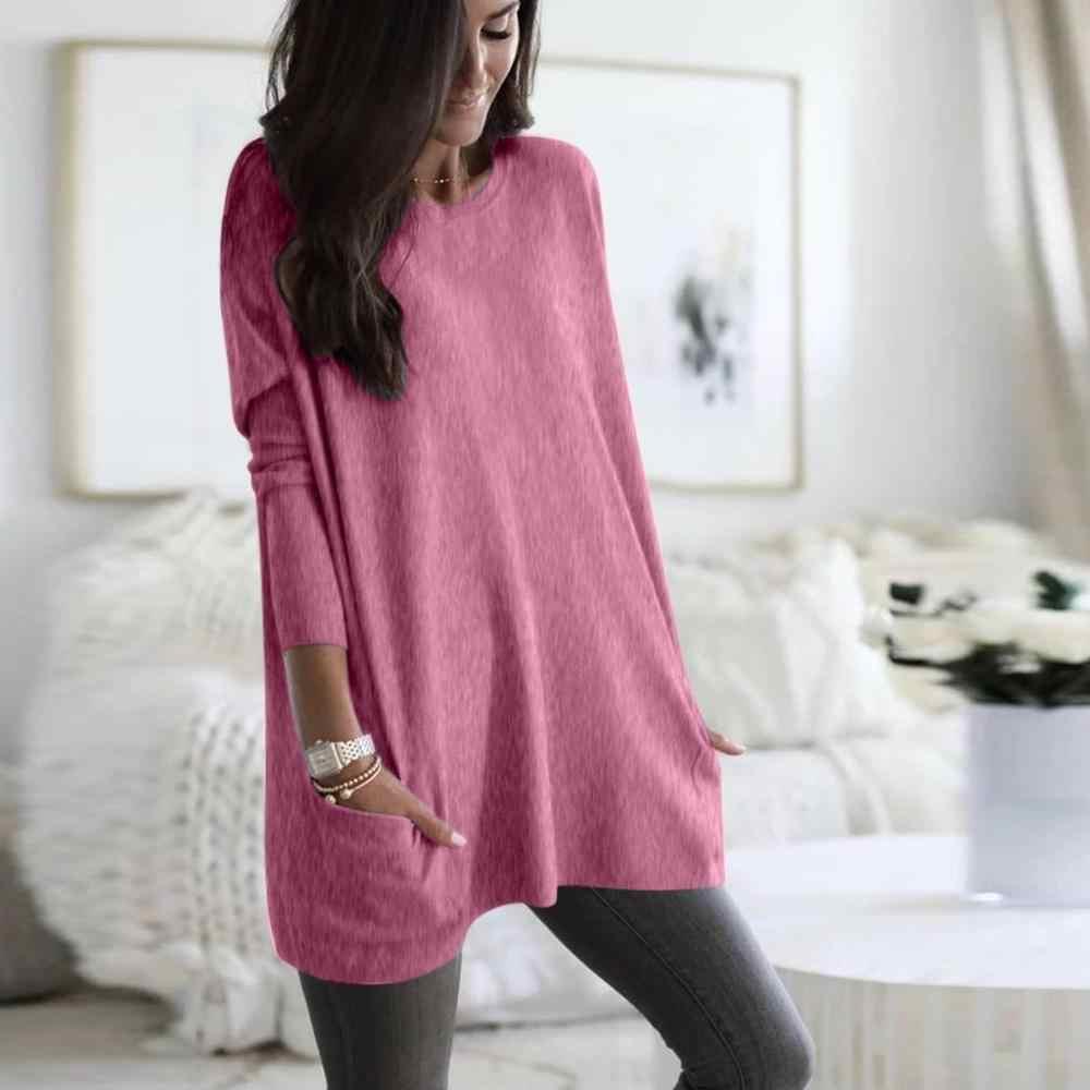 Женский однотонный теплый свитер с длинным рукавом свободный карман Повседневный пуловер Топы #5O08