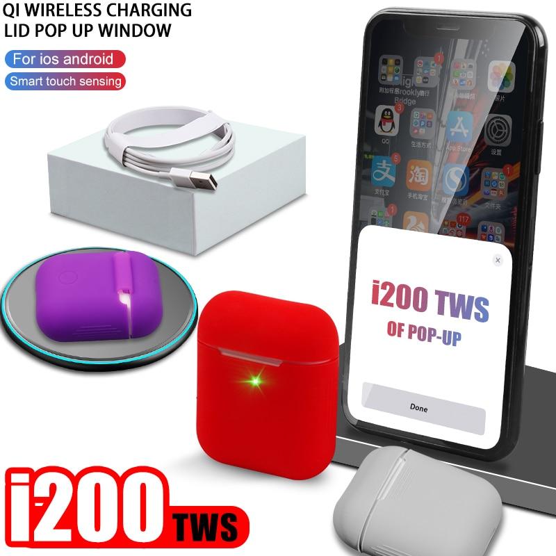 Tws i200 Bluetooth 5.0 Fone De Ouvido fone de Ouvido PK W1 H1 Esporte Fones De Ouvido Sem Fio de Carregamento Baixo PK i12 i60 i800 i100 i1000 elari kulaklik