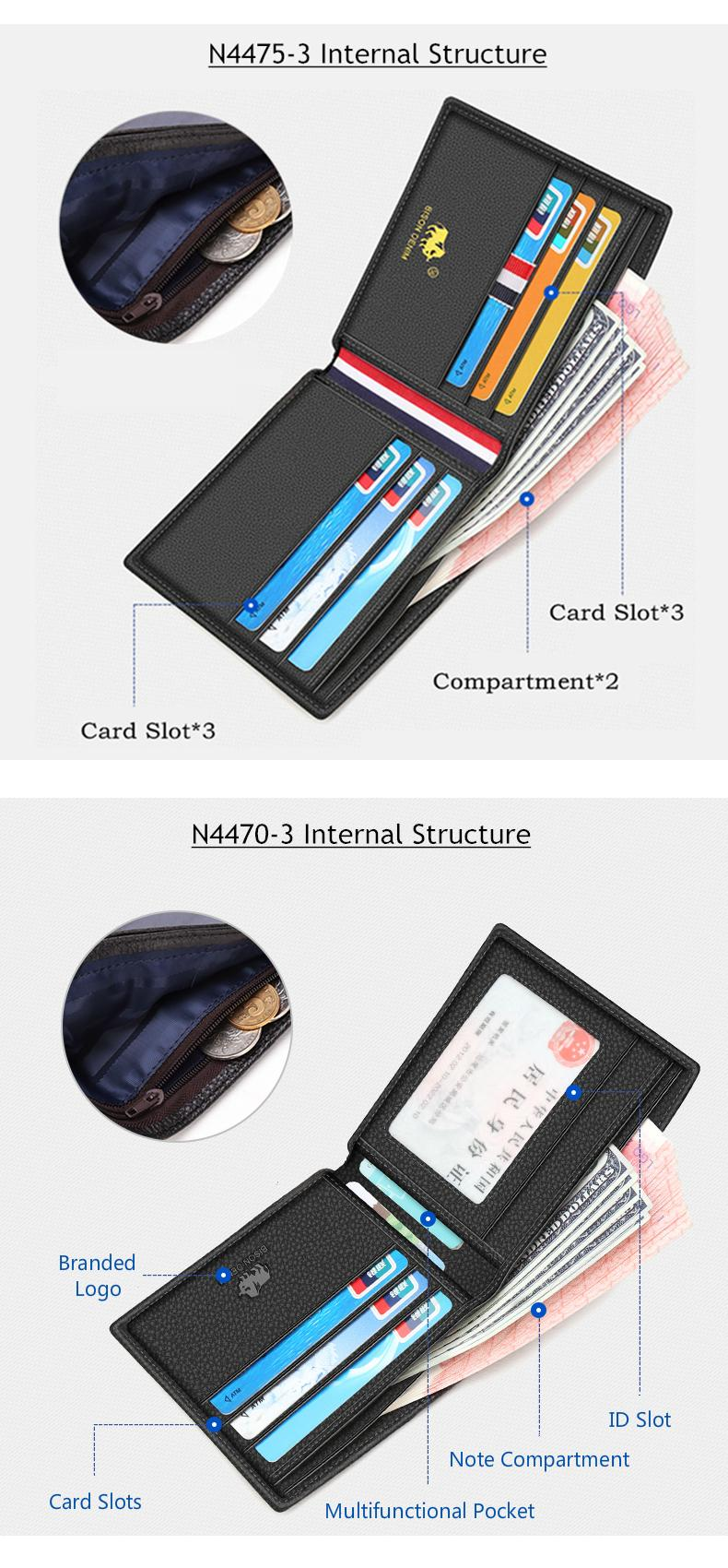 H01ad50aa75324fa58108ed8e7b8cacb6X - BISON DENIM 100% Cow Leather Wallet Men Fashion Bifold Card Holder Wallet RFID Blocking Male Short Purse High Quality N4475