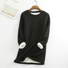 2020 Winter Women Thick Fleece Sweatshirt Velvet Warm Solid O-neck Underwear Blouse Tops толстовка женская