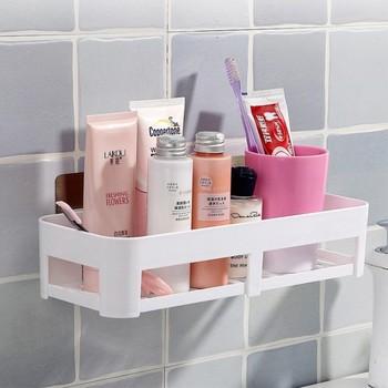 Darmowym przepychaczem półka łazienkowa vanity storage rack łazienka ścienna do montażu na ścianie łazienka przyssawka wykończenie półka WF308922 tanie i dobre opinie Jeden poziom Typ ścienny Z tworzywa sztucznego Polerowane