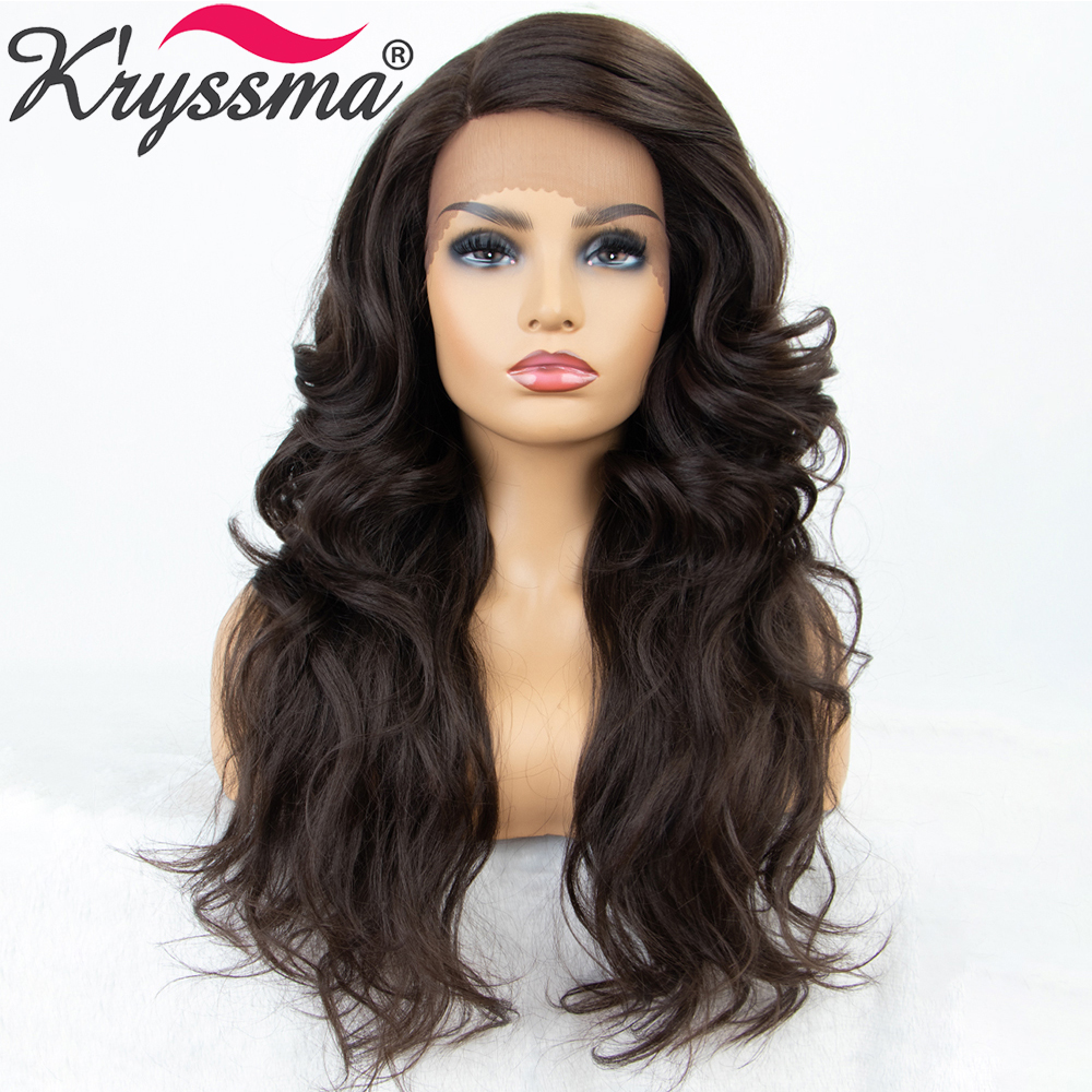Long Dark Brown Black Synthetic Lace Front Wigs For Women Withe/Black Cosplay Woman Wigs Body Wave Women's Wig Heat Resistant