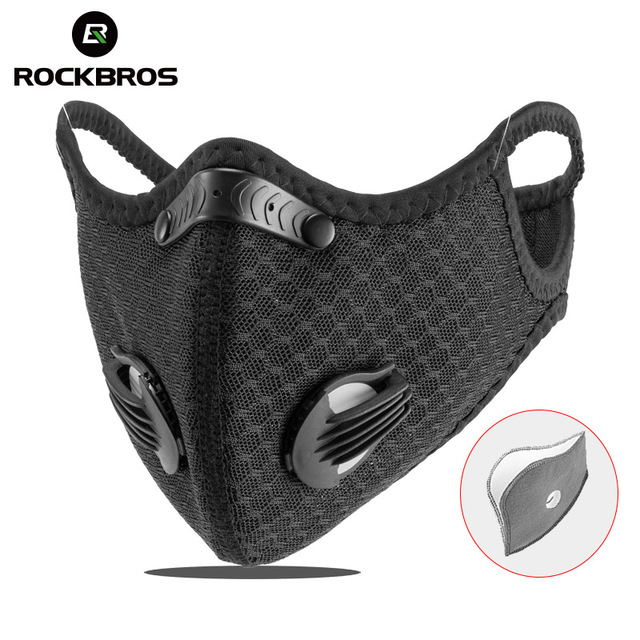 ROCKBROS Cycling Mask PM2.5 Mask Filter Dust Mask Activated Carbon With Filter Anti-Pollution Bicycle MTB Bike Face Mask