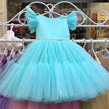 Dresses Princess-Dress Comunion Flower-Girl NEW Bow Belt Pearls Vestido Nia Simple