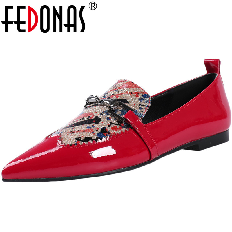 FEDONAS  New Arrival Women Punk Vintage Party Night Club Pumps Spring Summer Metal Decoration Shoes Patent Leather Shoes Woman