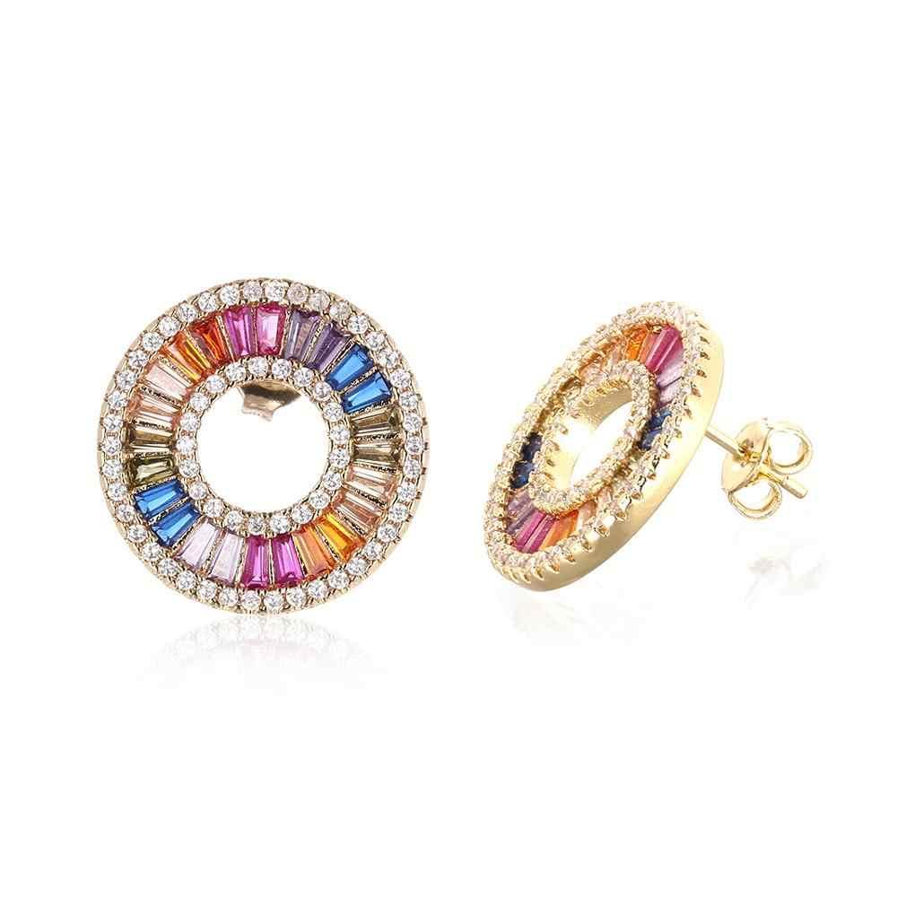 Vrouwen gold cz rainbow stud oorbel kleurrijke kristallen oorbellen hart eye earring regenboog sieraden accessoires cadeau voor vrouwen