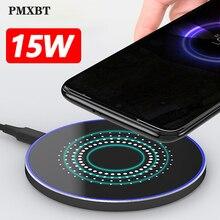 Carregador usb rápido sem fio 15w, carregador indutivo para samsung galaxy s10 note 10 9 s20 qi 10w para iphone 11 pro xs max x xr 8