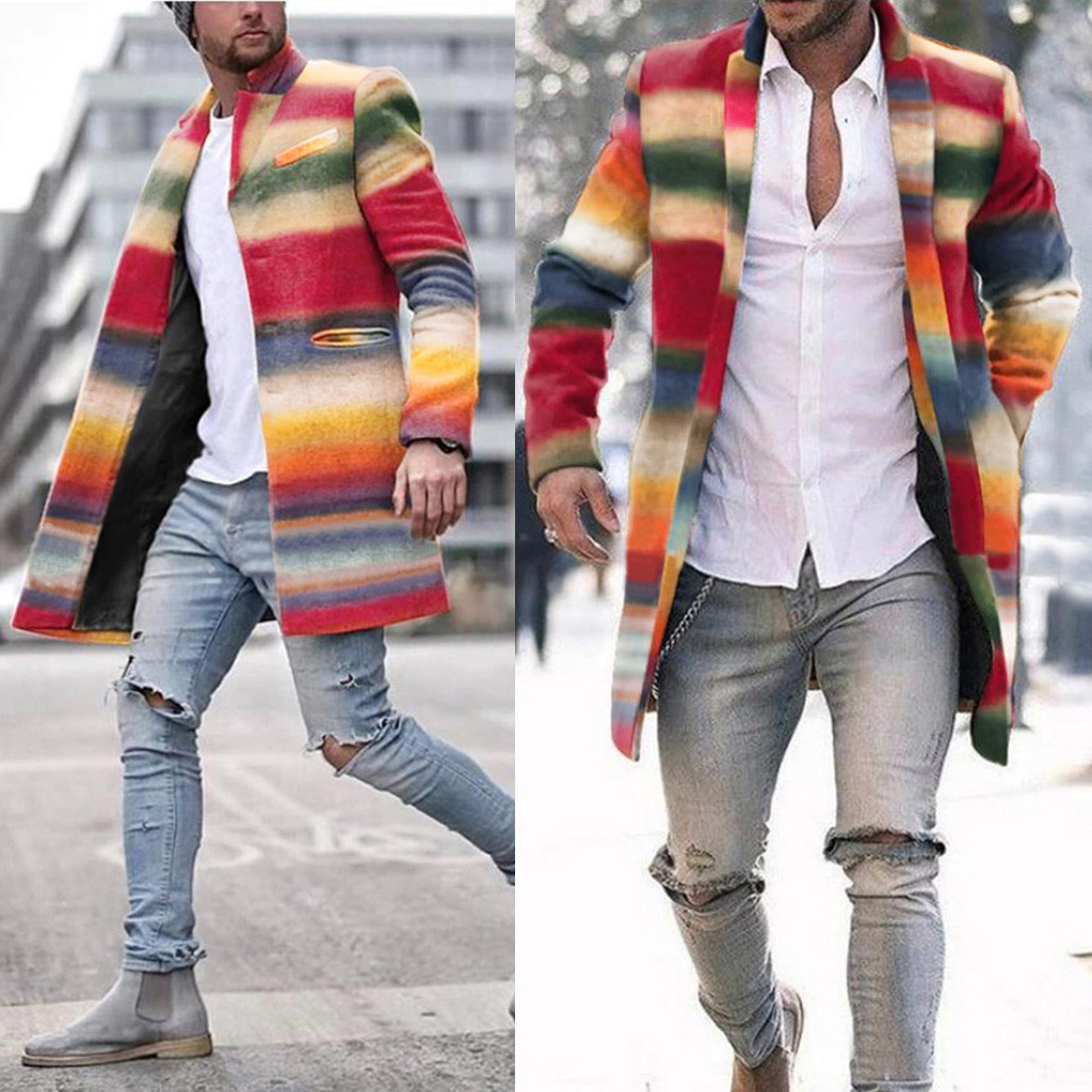 Winter Wool Coat Men Leisure пальто мужское мужское пальто Seven-color Rainbow Stripes Slim Wool Fashion Men's Jackets Casaco#G2
