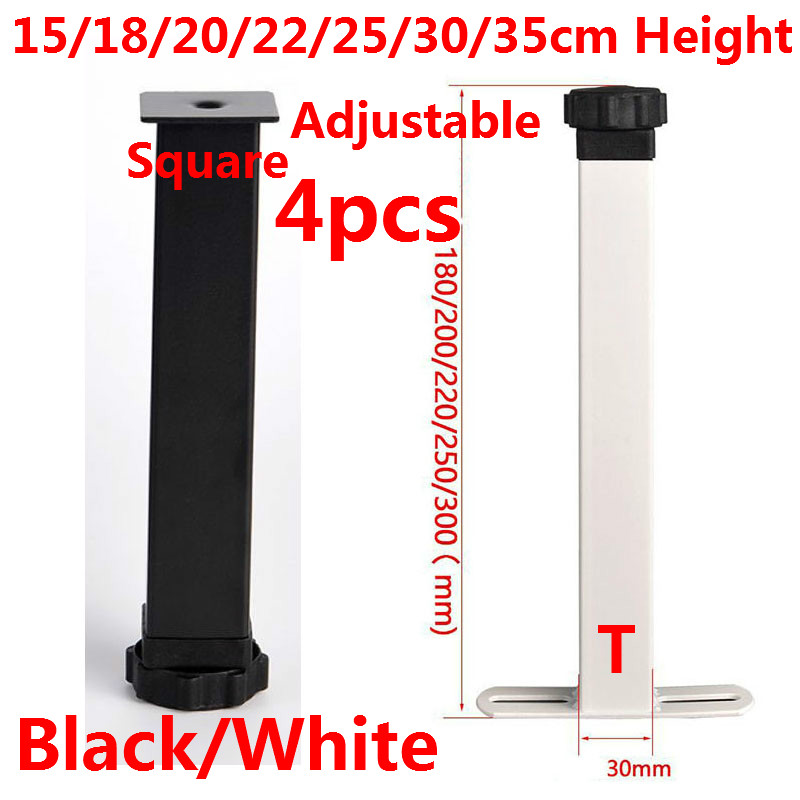 4pcs Cold Rolled Steel Adjustable Furniture Legs  Black/White Feet Replacement Table Cabinet Legs 15/18/20/22/25/30/35cm Height
