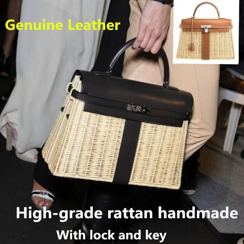2019 High-grade Rattan Bag Genuine Leather Female Bag Rattan Weaving Handbags Leather Portable Messenger Bag with Lock and Key