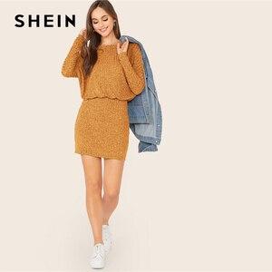 Image 5 - Женское трикотажное платье блузон SHEIN, Бордовое платье в рубчик с рукавами «летучая мышь», элегантное осеннее мини платье с вырезом лодочкой и длинным рукавом
