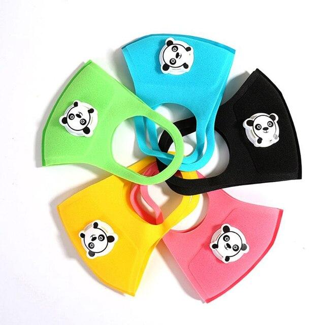 10PCS Cartoon Panda Boys and Girls Valve Masks Black Pink Fashion Masks Dust-Proof Protection Oral Sponge Mask Kpop Mask Kawaii 2