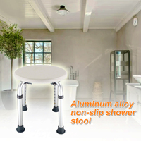 Furniture Chair Easy Clean Toilet Seat Non Slip Disabled Home Height Adjustable Older Pregnancy Kids Bath Shower Stool Round