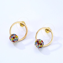 Rainbow Crystal Round Drop Earrings for Women Colorful Shiny CZ Hollow Gold Color Metal Dangle Earrings Statement Jewelry Gift korean japanese simulated pearl opal long drop earrings for women gold color metal shiny cz crystal statement earrings jewelry