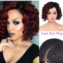 Wigs Remy-Hair Curly Wine-Color Human Short Hair-Lace-Part Peruvian FAVE Tied Half-Hand