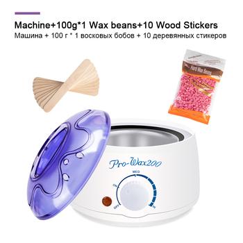 Elektryczny depilator wosk-maszyna to topnienia grzejnik 100g wosk fasoli 10 sztuk drewna naklejki do usuwania włosów zestawy zestaw do woskowania cera depilatori tanie i dobre opinie 650g US EU UK AU wax-melt heater 50 60Hz Parafina podgrzewacz 110-240V