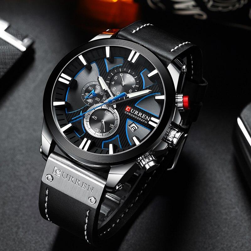 Criativo com Datas Relógio de Pulso Curren Grande Mostrador Relógio Masculino 2020 Cronógrafo Esporte Relógios Design Aço Inoxidável