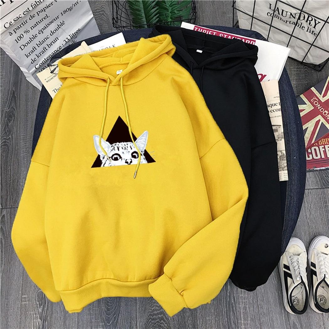 Kawaii Women Cartoon Hooded Sweatshirt Cute Cat Print Hoodies Autumn Winter Long Sleeve Loose Streetwear Pullover Tops