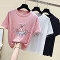 2020 verão moda gelo malha t camisa das mulheres fino de manga curta sika deer impressão frisada malha camiseta feminina inferior camisa topos