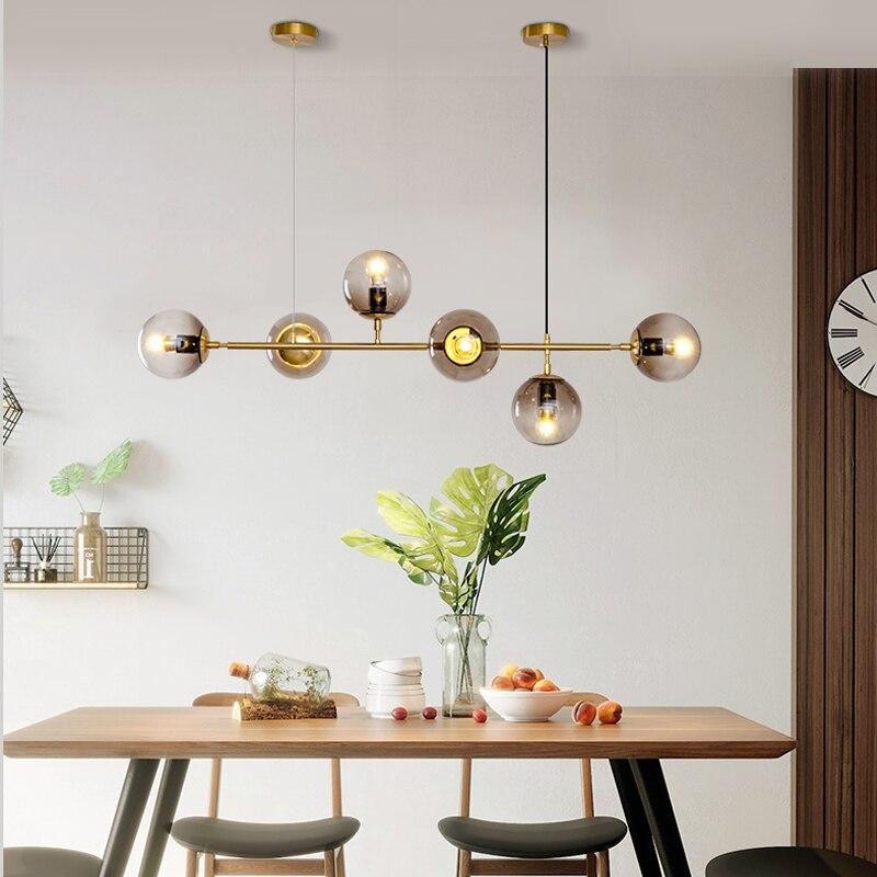 Nordic Designer Strip Magic Beans Glass Pendant Lights Glass Ball Luxury Golden Table Bar Dining Shop Office Hanging Lamp