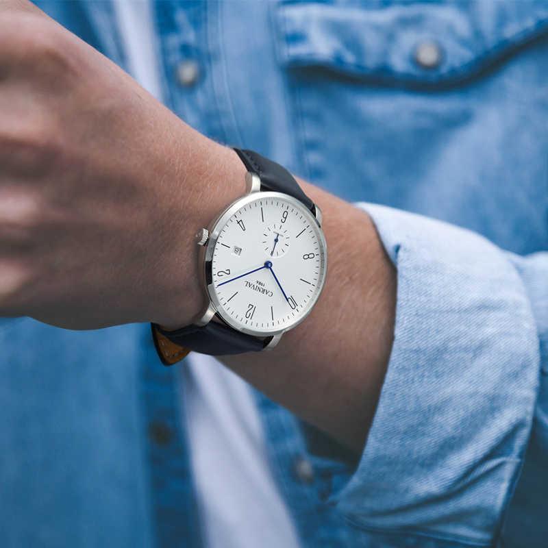 Karnaval marka otomatik mekanik İzle erkekler tam çelik iş aydınlık altın Calkskin deri moda rahat tarih saatler