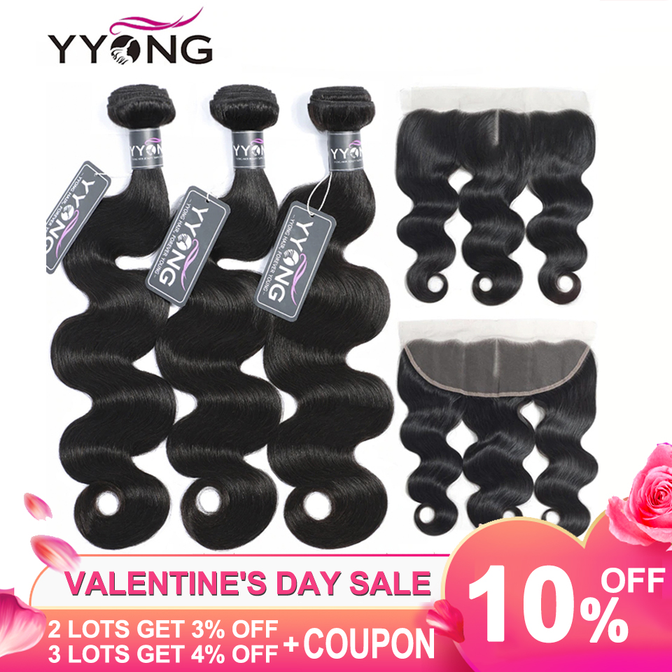 Yyong Hair Human-Hair-Bundles Frontal Body-Wave Brazilian with Remy Ear-To-Ear 13X4 title=