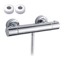Banyo termostatik duş musluk kontrol vanası duvara monte termostatik sıcak ve soğuk mikser karıştırma vanası dokunun küvet bataryası