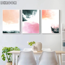 Scandinavian Abstract Wall Art Prints Pink Canvas Painting Pastel Art Poster Modern Home Decor Living Room Decoration Pictures