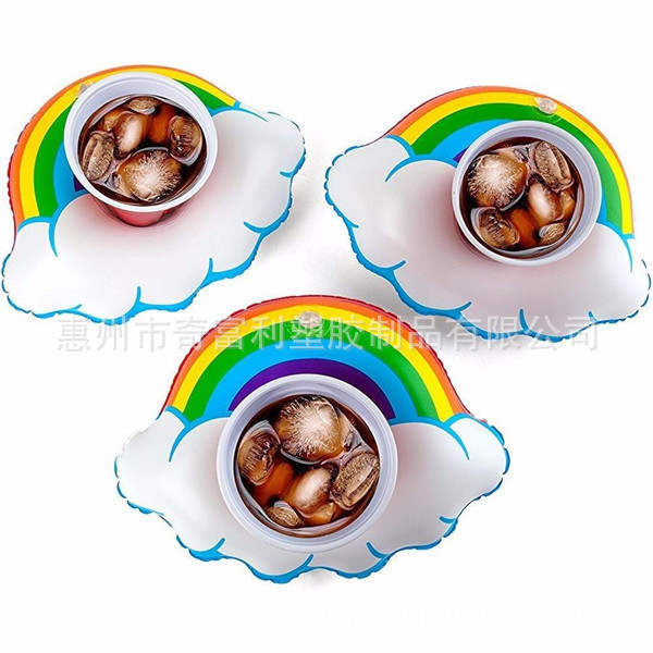 Inflatable Happy Rainbow HAPPY Rainbow Beverage Water Cola Cup Seat PVC Beverage Mobile Phone Holder