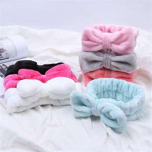 Hairbow Turban Hair-Accessories Makeup Cosmetic Cross-Headband Coral-Fleece Bath-Mask