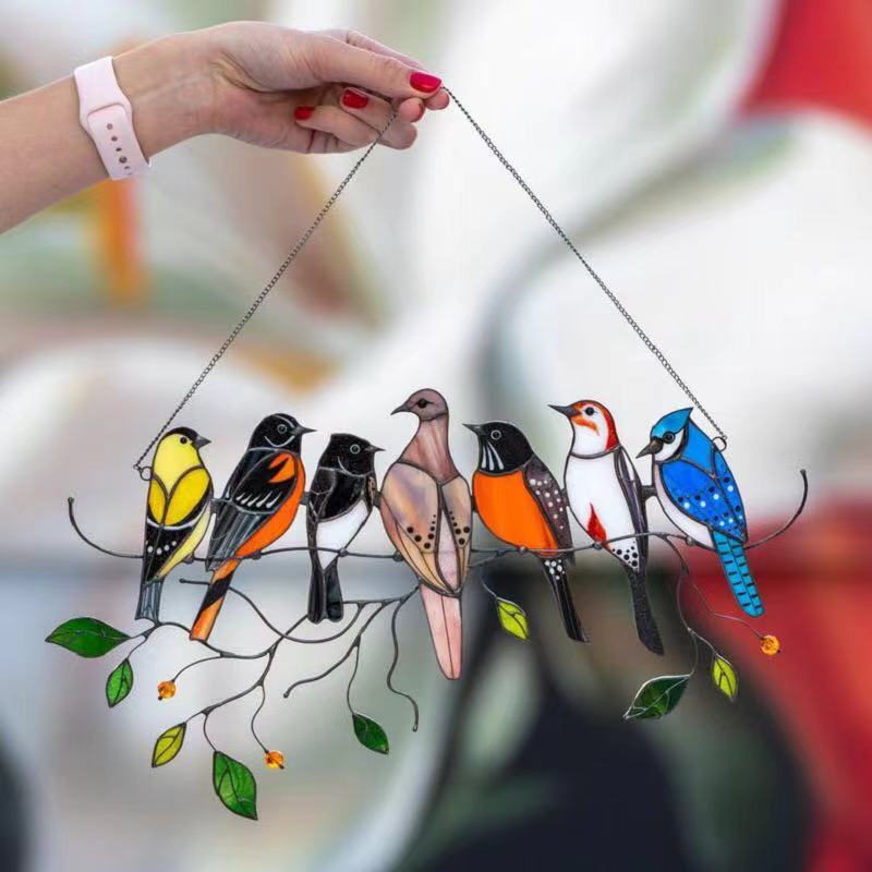 Mini Stained Bird Glass Window Hangings Acrylic Wall Hanging Birds Decor Room Accessories Scandinavian Decor Mothers Day Gift