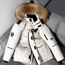 Erkek beyaz ördek aşağı ceket sıcak kapşonlu kalın balon ceket ceket erkek rahat yüksek kaliteli palto termal kış Parka erkekler 3XL