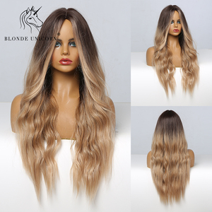 Blonde Unicorn Long Wavy Brown to Blonde Ombre Wigs Synthetic Wigs For Black/White Women Heat Resistant Daily Party Hair Wig