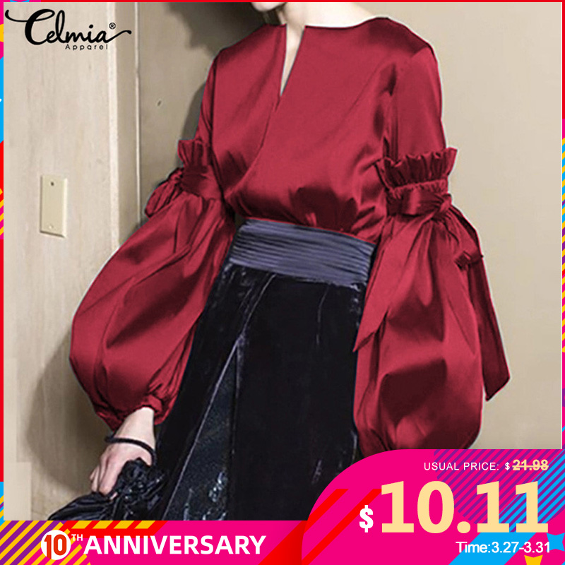 Celmia Plus Size Silk Tops Women Vintage Lantern Sleeve Satin Blouse Fashion Bow V Neck Elegant Office Lady Shirts Feminina 5XL