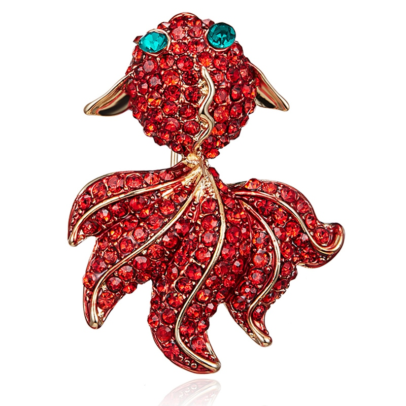 Jewelry Pins Golden-Fish Brooch Rhinestone Red Women Animal Banquet Classic Party Weddings