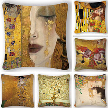 Funda de cojín con pintura al óleo de klimt de Gustav diseño dorado funda de cojín estampada Vintage funda decorativa para cojín sofá funda de almohada para silla