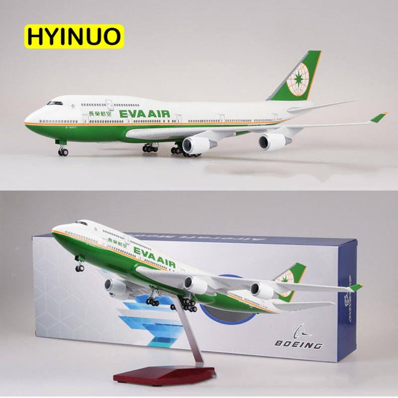 1/150 Scale 47CM Airline Boeing B747 Aircraft Taiwan EVA AIR Airplane Model W Light And Wheel Diecast Plastic Resin Plane